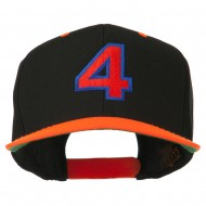 Arial Number 4 Embroidered Classic Two Tone Cap - Neon Orange
