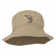 Fly Fishing Outline Bucket Hat - Khaki