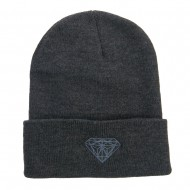 Big Size Grey Diamond Embroidered Long Beanie - Charcoal