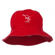 Fly Fishing Outline Bucket Hat - Red