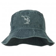 Fly Fishing Outline Bucket Hat - Navy