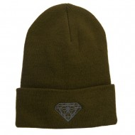 Big Size Grey Diamond Embroidered Long Beanie - Olive