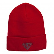Big Size Grey Diamond Embroidered Long Beanie - Red