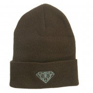 Big Size Grey Diamond Embroidered Long Beanie - Brown