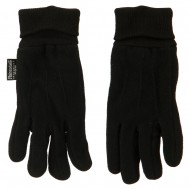 Fleece Glove with Knitted Sides - Black
