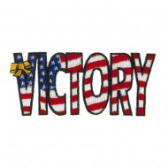 Flag Style Embroidered Patch - Victory