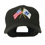 Flags with Star of Life Embroidered Cap - Black