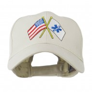 Flags with Star of Life Embroidered Cap - Stone