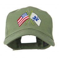Flags with Star of Life Embroidered Cap - Olive