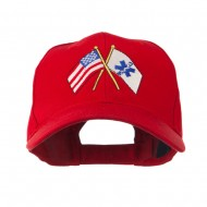 Flags with Star of Life Embroidered Cap - Red