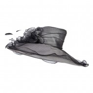 Floral Organza Hat with Ruffle Brim - Black