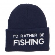 I'd Rather Be Fishing Embroidered Cuff Beanie - Navy
