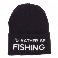 I'd Rather Be Fishing Embroidered Cuff Beanie - Black