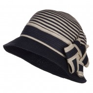 Star Ribbon Paper Striped Cloche - Navy