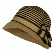 Star Ribbon Paper Striped Cloche - Tan