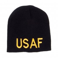 USAF Military Embroidered Short Beanie - Black