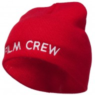 Film Crew Embroidered Short Beanie - Red