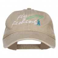Fly Fishing Embroidered Washed Cap - Khaki