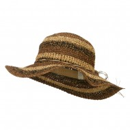 Multi Striped Flat Brim Sun Hat - Brown