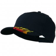 Brushed Cotton Embroidered Flame Logo Cap - Navy