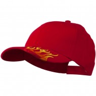 Brushed Cotton Embroidered Flame Logo Cap - Red