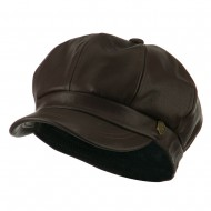 Faux Leather Spitfire Hat - Brown