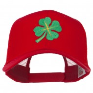 Four Leaf Clover Embroidered Trucker Cap - Red