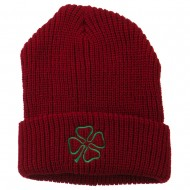 Four Leaf Clover Embroidered Watch Beanie - Red