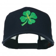 Four Leaf Clover Embroidered Trucker Cap - Navy