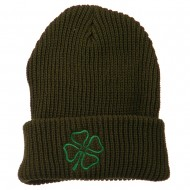 Four Leaf Clover Embroidered Watch Beanie - Olive