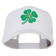 Four Leaf Clover Embroidered Trucker Cap - White