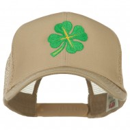 Four Leaf Clover Embroidered Trucker Cap - Khaki