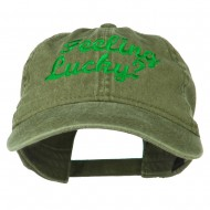 Feeling Lucky Embroidered Washed Cap - Olive Green