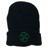 Four Leaf Clover Embroidered Watch Beanie - Navy