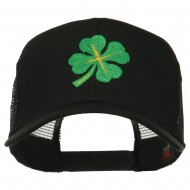 Four Leaf Clover Embroidered Trucker Cap - Black