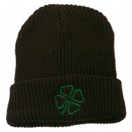 Four Leaf Clover Embroidered Watch Beanie - Brown