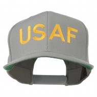USAF Military Embroidered Flat Bill Cap - Silver