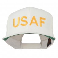 USAF Military Embroidered Flat Bill Cap - Natural