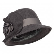Women's Flower Satin Band Wool Cloche - Grey