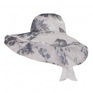 Floral Design Bow Crushable Hat - Black