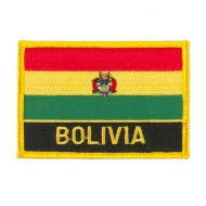 South America Flag with Name Embroidered Patch - Bolivia