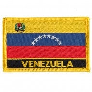 South America Flag with Name Embroidered Patch - Venezuela