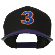 Arial Number 3 Embroidered Classic Two Tone Cap - Black Purple