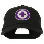 First Aid Logo Embroidered Pigment Dyed Cotton Cap - Black