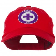 First Aid Logo Embroidered Pigment Dyed Cotton Cap - Red