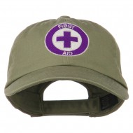 First Aid Logo Embroidered Pigment Dyed Cotton Cap - Olive
