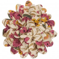 4 Inch Floral Print Cotton Blend Flower Pin - Cream Taupe