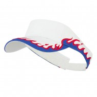 Cotton Twill Flame Visor - White Royal Red