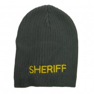 Big Size Sheriff Embroidered Ribbed Beanie - Charcoal