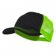 Fashion Quilted Trucker Two Tone Neon Mesh Cap - Black Neon Green